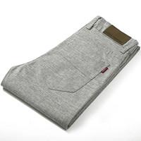 ingrosso vestito grigio maschio-Pantaloni di lino di cotone dritti da uomo di grandi dimensioni che dimagriscono i pantaloni estivi casuali