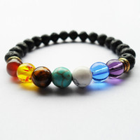 Wholesale bar sliders - Black Lava Volcanic stone 7 Chakra Bracelet,Natural Stone Yoga Bracelet,Healing Reiki Prayer Balance Buddha Beads Bracelet