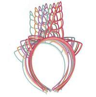 ingrosso fasce di plastica per i bambini-I capelli di plastica dell'unicorno di promozione di Kawaii attacca i fasce del boutique di colori misti per gli accessori dei capelli dei bambini della festa di compleanno delle ragazze 12pcs / lot