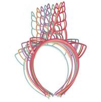 accesorios para el cabello de las mujeres diadema de plástico al por mayor-Promoción Kawaii Unicornio plástico Palillos del pelo Colores mezclados Boutique para las muchachas de la fiesta de cumpleaños de los niños Accesorios para el cabello 12 unids / lote
