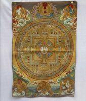 шелковые картины оптовых-Коллекционные традиционный тибетский буддизм в Непале тханка Будды картины, Большой размер буддизм шелк парча живопись p002507