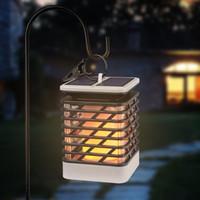 açık asma feneri ışıkları toptan satış-Güneş Enerjili 75 LED Alev Etkisi Asılı Fener Işık Açık Su Geçirmez Yard Bahçe Çim Ağacı Dekor için Kamp Çadır