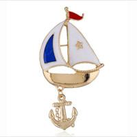 piraten-diamant großhandel-Halloween Segeln Kleidung Europäischen und Amerikanischen Modeschmuck Piratenkapitän Brosche Party Geschenke Tier Styling Diamant Behandlung