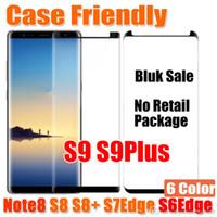 Wholesale wholesale bulk sales - Bulk Sale Case Friendly 3D Glass For Samsung Galaxy S9 S9Plus Note8 Note 8 S8 S8Plus S7Edge S6Edge Case Version 3D Curved Tempered Glass