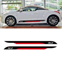 Wholesale door skirt - Auto Door Side Skirt Stripes Sport Styling KK Vinyl Decal Car Accessories Body Customized Sticker For PEUGEOT RCZ 2011-2014