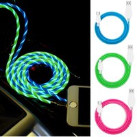 Wholesale universal directions - 2018 Flowing USB Cable Upgrade Extra Bright Brilliant LED Light Up Charging Data Cable Direction Flow Stream