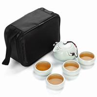 Wholesale China Glaze Sets - Travel Tea Sets Chinese Portable Ceramic China teaset Gaiwan Teacup Porcelain Tea Cup The Kung Fu Outdoor Teapot Set