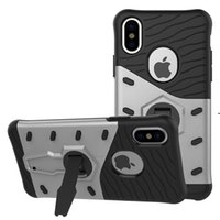 Wholesale Lg Mobile Phones Battery - For iPhone 8 PC Silicone Dual Layer Skin Rugged Combo Kick Stand Armor Case For Galaxy S7 note 8 LG X MAX Mobile Phone Shell Cover opp bag