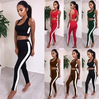 Wholesale Womens Vest Brown - Two Piece Womens Tracksuit Rib Vest Crop Tops Pants Set Sport Lounge Wear Casual Suit Sweatshirt and Sweatpants Sweatsuit Sport Joggers Set