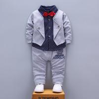 Wholesale toddler boys formal suits - Baby boy clothes spring 2018 formal kids clothes suit 2Pcs boys set baby born gentleman toddler boy clothes birthday dress