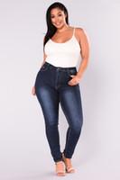 Wholesale Womens Size Capris - Womens Long Vintage Slim Jeans Female Long Pants Deep Blue Jeans Plus Size 2XL-7XL