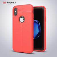ingrosso copertine del telefono litchi-Per iPhone Xs Max X Xr 8 Plus 7 Soft Cover in pelle color litchi Cover posteriore rigida per PC Custodie per cellulari ultrasottili