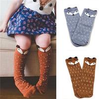 лиса колено высокие носки для малышей оптовых-Winter Fall Animal Print Socks For Baby Girls Kids Toddler  Cute Grey Brown Socks Cotton Knee High Hosiery