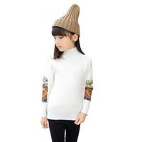 baumwoll-rollkragenpullover für kinder großhandel-2018 Kinder Mädchen Solide Pullover Für Jugendliche Kleidung Warme Pullover Nette Kinder Rollkragen Strickwaren Mädchen Tops 4 6 8 10 12 Jahre