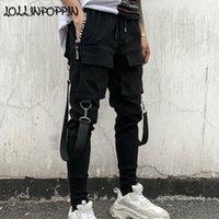 fitas de dança negra venda por atacado-Homens Streetwear Harem Pants Preto Cintura Elástica Calças Do Punk Com Fitas Street Dance Jogger Hip Hop Calças Multi-bolsos