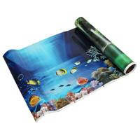 mavi arka planlar toptan satış-1 adet Mavi Taze Deniz Arka Plan Duvar Çıkartmaları Çift Taraflı Akvaryum Okyanus Peyzaj Poster Balık Tankı Arka Plan Duvar posterler