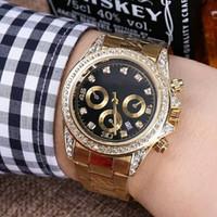 ingrosso orologio di diamanti neri-relogio masculino mens orologi Luxury wist moda quadrante nero con calendario staffa chiusura fibbia master regalo di lusso diamante orologi