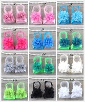 Wholesale first foot - colorful baby chiffon flower sandals shoes cover barefoot foot flower ties infant children girl kids first walker shoes Photography props