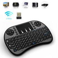 ingrosso i8 mouse d'aria-20pcs Mini Rii i8 tastiera wireless 2.4G inglese Air Mouse Tastiera telecomando Touchpad per Smart Android TV Box Tablet PC notebook