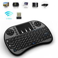 ingrosso scatola del taccuino android-20pcs mini tastiera wireless Rii i8 2.4G tastiera telecomando mouse dell'aria inglese Touchpad per Smart TV Android Box Notebook Tablet Pc