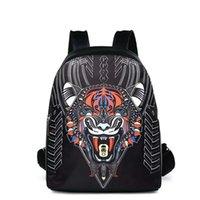 serin okul çantaları erkek toptan satış-2018 serin hayvan boy kaplan kafası Yeni Moda erkekler tasarımcı Sırt Çantaları Toptan Deri PU Sırt Çantası Okul bilgisayar Çantaları