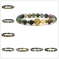 encantos de buda indio al por mayor-2 Estilos Indian Green Stone Beads Pulsera Metal Owl Lion Head Encantos Equilibrio Buddha Oración Estiramiento Yoga Pulsera Joyería