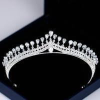 modeschmuck königin großhandel-Mode Silber Hochzeit Haarschmuck Zirkon Kristall Tiaras Kronen Für Frauen Braut Diadem Königin Prinzessin Haarschmuck Festzug