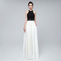 2019 Elegantes Vestidos De Noche De Satén En Blanco Y Negro Largos Una Línea Con Cuentas Joya En El Cuello Sexy Hasta El Suelo Fotos Reales Formales