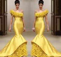 une robe de bal sirene achat en gros de-2019 Sexy sirène Pageant Robes De Soirée Formelles Une Épaule Fabriquées À La Main Fleur Longueur De Plancher Robes Formelles Bal Tenue De Soirée Sirène