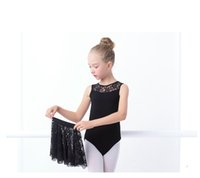 Wholesale Child Leotard Skirt - Lace black sleeveless ballet leotard with skirt for girls children ballet trainning wear ballet dance wear for class