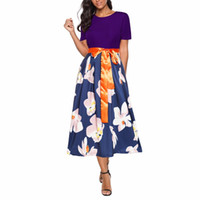 Wholesale work short sleeve online - 4 colors Floral Print Summer Dresses Short Sleeve OL Work Lady women fashion sexy Bandage casual nightclub Midi dress