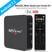 quad core tv box dhl shipping venda por atacado-MXQ PRO caixa de tv Android Rockchip RK3329 Android 7.1 CAIXA de TV 2G 16G WiFi 4 K Addons18.0 setado set top box DHL Frete grátis