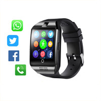 Wholesale q18 smart watch online - Bluetooth Smart Watch Men Q18 With Touch Screen Big Battery Support TF Sim Card Camera for Android Phone Smartwatch