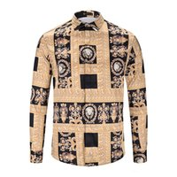 novo vestido de design para homens venda por atacado-Brand new design Luxo Imprimir slim fit casual camisa dos homens de manga longa dos homens camisas de vestido dos homens camisas Medusa