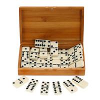 spaß spielzeug spiele großhandel-Unterhaltung Schach spielen Double Six Dominoes Set Reisespiel Spielzeug Black Dots Dominoes für Spielspaß