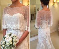 Wholesale train shawl wedding dress - Elegant Mermaid Wedding Dresses Modest Backless Lace Beach Wedding Gowns Shawl Soft Tulle Open Back Sweep Train Bridal Dresses