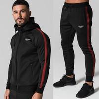 erkek cesedi toptan satış-Giyim Seti Erkekler Koşu Takım Elbise Set Spor Spor Eşofman Setleri Spor Vücut geliştirme erkekler Hoodies + Pantolon Spor Dış Giyim Erkekler