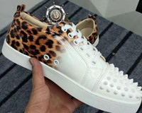 Wholesale crystal leopard shoes - New Designer Leopard Low Top Crystal Studded Lace Up Causal Shoe Man Woman Cheap Sneaker Red Blue Black Flat Bottom Party Shoes Size 36-47