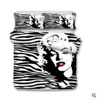 skull bedding toptan satış-ABD AU Boyutu 3 adet Lüks Yatak Seti Yorgan Marilyn Monroe Kafatası yatak Örtüsü Set Kral Boyutları Kelebek Nevresim Set Yatak Malzemeleri