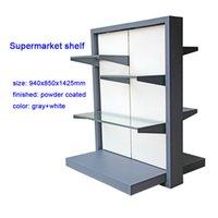 metallwaren großhandel-grauer und weißer Warenausstellungsstand des Supermarktregals Metall für erstklassiges Geschirr-Diplanygestell des Supermarkts für das Einkaufen