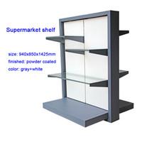 metallwaren großhandel-graues und weißes Supermarktregalmetallwaren-Ausstellungsstand für supermarket erstklassiges Geschirr diplany Gestell für das Einkaufen