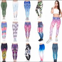 девочки, бегущие за брюками оптовых-Женщины девушки леггинсы йога брюки Мандала цветочные 3D цифровой русалка печати тонкий фитнес тренировки работает колготки брюки 60 шт. AAA648
