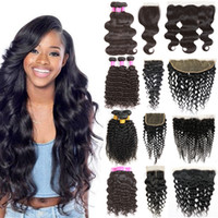 Wholesale curly virgin hair bundle deals - Brazilian Virgin Hair Bundles with Frontal 13x4 Lace Frontal with 3 bundles Body Wave Hair Weaves Bundle Deals Remy Human Hair Kinky Curly