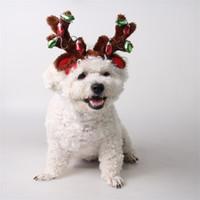 bulbos de ornamento venda por atacado-Hairpin Pet Supply Feliz Natal Dog Hat Gato Enfeites Lâmpada Antler Cabeça Hoop Ao Ar Livre Faixa de Cabelo 14gy gg