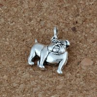 niedlichen schmuck ohrring charme großhandel-Nette Bulldogge-Charme-Anhänger 150Pcs / lot 13x17mm antike silberne Art- und Weiseschmucksachen DIY passende Armband-Halsketten-Ohrringe A-225