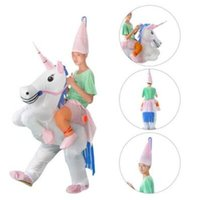 Wholesale inflatable party suits online - Inflatable Unicorn Costume Blow Up Suit Birthday Dress Cosplay Outfit Adult Kids Party Unicorn Costume Party Supplies CCA10490