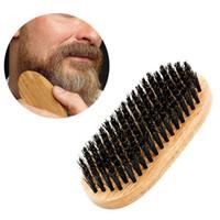 ingrosso spazzola per capelli rotondi-Spazzola per capelli di cinghiale naturale Spazzola per barba e baffi Pettine per rasatura Pettine per massaggio rotondo Manico in legno Spazzole fatte a mano