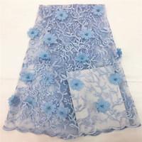 ingrosso fiori in rilievo in vendita-Vendita calda blu africano tessuto in rilievo del merletto di alta qualità 3D fiore pizzo trim africano francese tessuto di pizzo netto per il vestito da partito CDA83-2