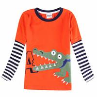 camiseta naranja bebé al por mayor-Naranja 2018 al por menor para niños, bebés, niños, ropa, camiseta de manga larga, primavera, otoño, diseño fresco en camiseta de alta calidad para niños