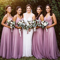 Wholesale purple royal blue ties online - Elegant Bridesmaid Dresses Spaghetti Convertible Tie Back Backless Garden Country Beach Wedding Guest Gowns Maid Of Honor Dress